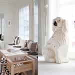 pöytä ja koirapatsaat
