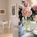 kuvassa keittiön pöytä ja ruusuja