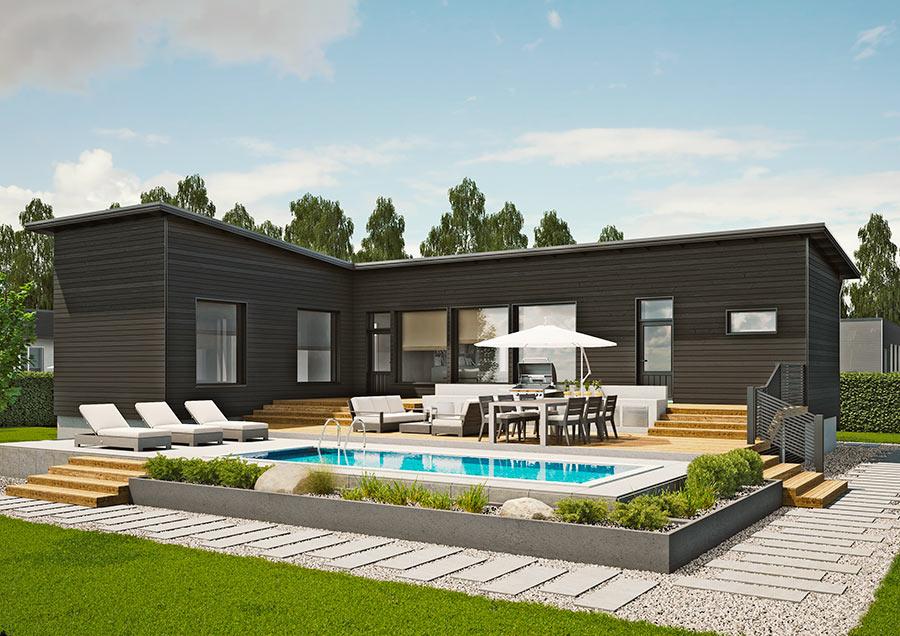 PASADENA 103 A, L-muotoinen talo sopii kapeille tonteille ja sen avulla on helppo luoda suojainen sisäpiha.