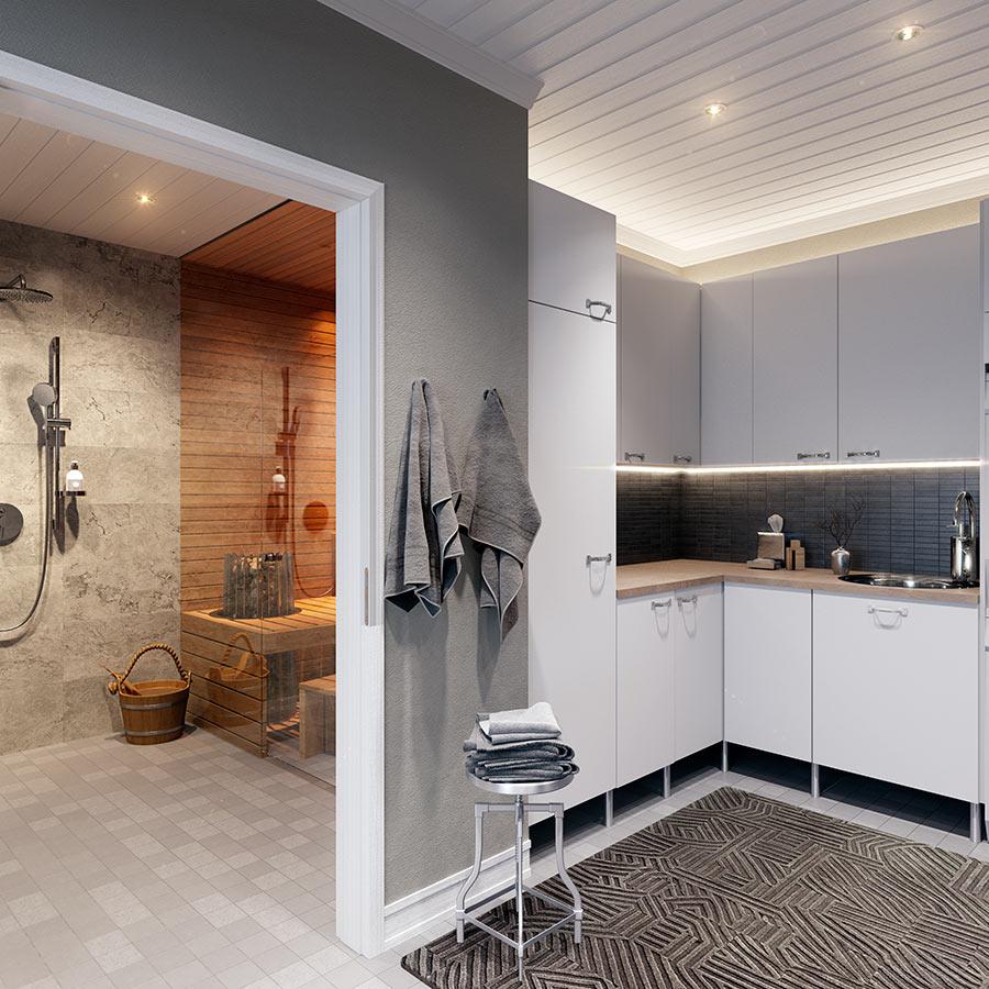 Factory-sisustusmaailma on asteen Modern-maailmaa rohkeampi ja pelkistetympi. Vaalean Factory-kylpymaailman seinä- ja lattialaatoissa on voimakas materiaalintuntu.