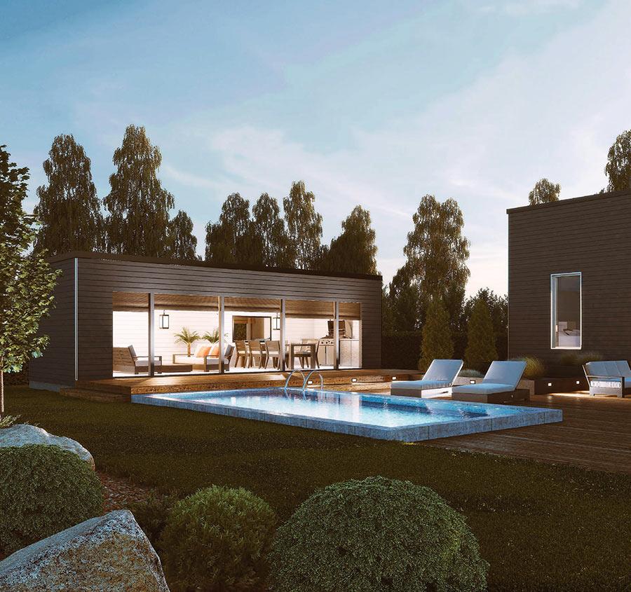 Pasadenan pihapiiriin on suunniteltu monikäyttöinen pool house. Se on varmasti kesällä monen perheen suosituin oleskelupaikka.